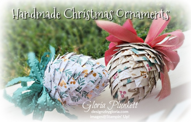 Pine cone ornament with paper  stampin' up! demonstrator  how to  diy  handmade  homemade  rubber stamping  crafts cardmaking