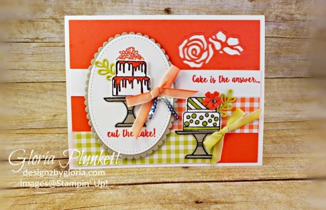 Piece of cake stamp set cake punch Layering ovals framelits dies gingham Gala designer series paper stampin' up! demonstrator how to diy handmade homemade rubber stamping crafts