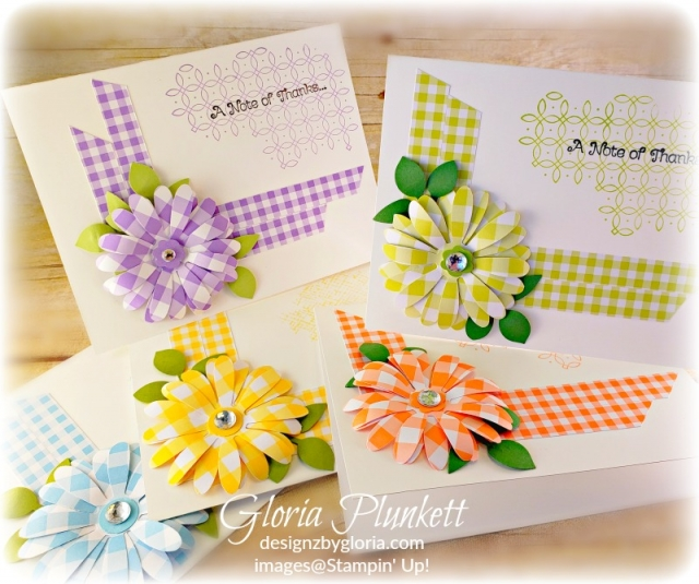 Daisy delight stamp set brusho gingham gala designer series paper daisy punch stampin' trimmer Layering ovals framelits dies gingham Gala designer series paper stampin' up! demonstrator how to diy handmade homemade rubber stamping crafts cardmaking