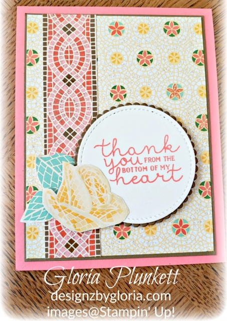 Mosaic mood specialty designer series paper, flirty flaming ink, layering circle framelits, Bloom & grow stamp set, flirty flaming cardstock, very vanilla cardstock, stampin' trimmer whisper white Cardstock  dimensionals multipurpose liquid glue take your pick, SNAIL adhesive stampin' up! demonstrator how to diy handmade  homemade  rubber stamping  crafts cardmaking