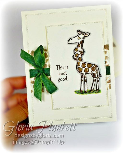 I wanted to replicate the cut spots on the giraffe, so I die cut a piece of Soft Suede Cardstock with one of the dies from the Animal Friends die to create my sponged background on my project.