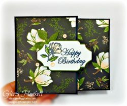 Detailed bands dies, magnolia lane designer series paper, Good Morning Magnolia stamp set, splitcoaststampers, Magnolia Blooms stamp, leaf punch, mossy meadow cardstock, basic adhesive backed sequins, basic rhinestone jewels, clear faceted gems, memento black ink, thick whisper white cardstock, whisper white cardstock, stampin' trimmer, very vanilla cardstock, crumb cake Cardstock, dimensionals, paper snips, multipurpose liquid glue take your pick, SNAIL adhesive stampin' up! demonstrator how to diy handmade homemade rubber stamping crafts cardmaking