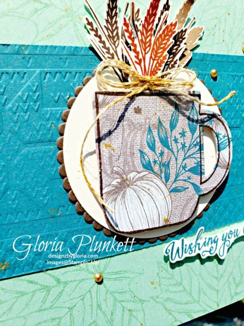 Cup of Christmas Stamp set, layering circle dies, delicata gold reinker, linen thread, metallic pearls, Gather together stamp set, come to gather suite bundle, gathered leaves dies, splitcoaststampers, merry merlot cardstock, come to gathered ribbon combo pack, tags & feathers elements,  come to gather designer series paper, beads and baubles embossing folder, whisper white craft ink, black stampin dimensionals, detailed trio punch, basic black cardstock, old olive classic ink,  memento tuxedo black ink, black stazon ink,    thick whisper white cardstock, whisper white cardstock,  stamparatus, aqua painters, blender pens, clear wink of stella, stampin' trimmer, very vanilla cardstock, sponge daubers,  dimensionals, paper snips, multipurpose liquid glue take your pick, SNAIL adhesive, stampin' up! Demonstrator, how to, diy handmade, homemade, rubber stamping, greeting card, crafts cardmaking