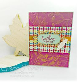 Gather together stamp set, come to gather suite bundle, gathered leaves dies, splitcoaststampers, merry merlot cardstock, come to gathered ribbon combo pack, tags & feathers elements, come to gather designer series paper, beads and baubles embossing folder, whisper white craft ink, black stampin dimensionals, detailed trio punch, basic black cardstock, old olive classic ink, memento tuxedo black ink, black stazon ink, thick whisper white cardstock, whisper white cardstock, stamparatus, aqua painters, blender pens, clear wink of stella, stampin' trimmer, very vanilla cardstock, sponge daubers, dimensionals, paper snips, multipurpose liquid glue take your pick, SNAIL adhesive, stampin' up! Demonstrator, how to, diy handmade, homemade, rubber stamping, greeting card, crafts cardmaking