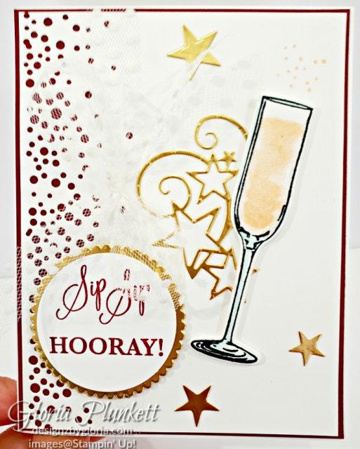 Sip Sip Hooray stam set, stitched stars dies, gold foil paper, petal pink classic ink, layering circle dies, Paper Snips, Take Your Pick Tool, merry merlot Classic Ink, Stampin' Sponges, White Chalk Marker, Stitched Rectangle Dies, sip & celebrate dies, Grid Paper, stampin sponge, perfectly plaid Stamp set, truck ride dies, shimmery crystal effects, braided linen ribbon, to every season stamp set, every season punch, gold foil paper, shaded spruce cardstock, cherry cobbler cardstock, wrapped in plaid 6 x 6 designer series paper, thick whisper cardstock, silicone craft mat, grid paper, gold delicata reinker, polka dot tulle ribbon, come to gather designer series paper, splitcoaststampers, come painters, blender pens, clear wink of stella, stampin' trimmer, very vanilla cardstock, sponge daubers,  dimensionals, paper snips, multipurpose liquid glue take your pick, SNAIL adhesive, stampin' up! Demonstrator, how to, diy handmade, homemade, rubber stamping, greeting card, crafts cardmaking  to gathered ribbon combo pack, Tags & More Accessory kit, every season punch pack, bronze delicata ink pad, black stampin dimensionals, detailed trio punch, basic black cardstock, old olive classic ink,  memento tuxedo black ink, black stazon ink,    thick whisper white cardstock, whisper white cardstock,  stamparatus, aqua painters