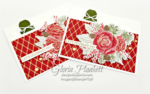 """I started with a 5-1/2"""" X 7-1/2"""" piece of Whisper White Cardstock and scored 4-1/4"""" on the 7-1/2"""" side to create my card base. Along the left and right side of the cardstock base, adhere some Tear & Tape on each side (of the shorter side), and fold up to create your file folder. I also cut a 3-1/2"""" X 4-1/2"""" piece of Whisper White Cardstock to create the """"insert"""" to the folder. Next, I punched a tab using a piece of Mossy Meadow Cardstock, folded it and adhered it to the insert using Tear & Tape. I tied a cute bow using the Solid Baker's Twine in Whisper White and used a Mini Glue Dot to adhere it to the Mossy Meadow Tab. I added a piece of Christmastime Is Here Specialty Designer Series Paper cut at 3"""" X 5-1/4"""" and adhered to the front of my project using SNAIL Adhesive. I also picked out the floral design I wanted to use using the Christmastime Is Here DSP and cut it out with the Roses Dies from the Suite/Bundle. I adhered it to my card front with some Stampin' Dimensionals. I also stamped the Let's Celebrate You from the Itty-Bitty Birthday Greetings Stamp Set with Versamark Ink on a thin scrap piece of Whisper White Cardstock. I added my Gold Embossing Powder and set it with my Heat Tool. Using my Paper Trimmer I trimmed up the sentiment, and using some Mini Stampin' Dimensionals I added only on the left side, because the floral image was already popped up on dimensionals all I did was add some adhesive to the right side of my sentiment and adhered to my project as shown in the photo above. Once I added some beautiful Gold Glitter Enamel Dots to finish off my project, I called it done."""